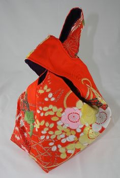 Japanese knot bag orange by lotusthreads on Etsy