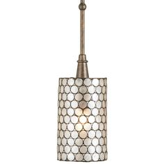 """As Seen on ABC's """"REVENGE"""" - The natural material, Capiz Shell, is used in combination with wrought iron finished in Cupertino to create this one light pendant. When the light shines through the natural Capiz Shell, it gives a pleasing warm glow to the shade."""