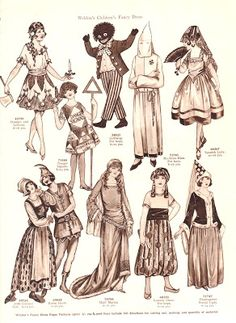 The Paper Collector: More Weldon's Children's Fancy Dress WOW, so NOT okay with the KKK costume or the blackface. Masquerade Fancy Dress, Masquerade Costumes, Halloween Costumes, Vintage Costumes, Vintage Dolls, Vintage Art, Lucien Lelong, Childrens Fancy Dress, Costume Patterns