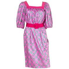 1970s Pink Saint Laurent Summer Printed Cotton Dress   1stdibs.com