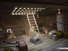 below deck ship Pirate Art, Pirate Life, Pirate Theme, Pirate Crafts, Pirate Ships, Pirate Birthday, Below Deck, Fantasy Places, Wooden Ship