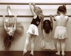 Four kids, four different poses...gotta love the way kids do their own thing, no matter what.....Baby ballerinas.