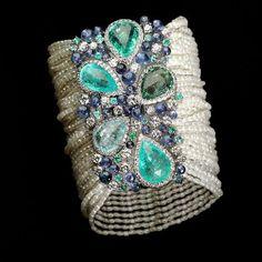 Bracelet Tourmaline Paraiba,diamonds,sapphires and pearls and tanzanite