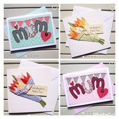 Handmade Mothers Day cards from Paper Soup Cards. Machine embroidered and hand cut paper cards for a very special mum.