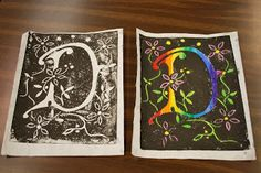 Project ART-A-DAY: Lesson 5: Lino Prints and Illuminated Letters