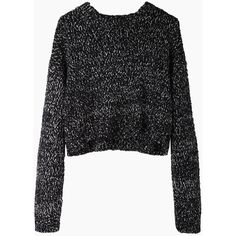 Proenza Schouler Cropped Marled Knit (7,180 THB) ❤ liked on Polyvore featuring tops, sweaters, shirts, jumpers, crop shirt, pullover sweaters, crew neck sweaters, cropped tops and knit pullover sweater