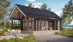 Modern log house with a porch Prefab Cabins, Prefab Cabin Kits, Prefab Cottages, Plan Chalet, Scandinavian Cottage, Tiny House Village, House Cladding, Log Home Designs, Cottage Plan