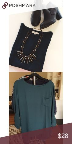 • LOFT • Dark emerald • 3/4 sleeves • Oversized fit • Excellent condition • 100% Polyester • NO TRADES/HOLDS • All reasonable offers accepted • LOFT Tops
