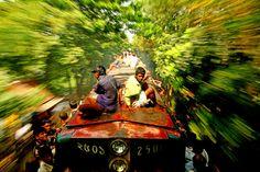 The art of train-surfing.    Dhaka, Bangladesh