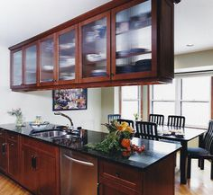 kitchen peninsula with glass upper cabinet doors from Upper Kitchen Cabinets With Glass Doors Hanging Kitchen Cabinets, Glass Kitchen Cabinet Doors, Refacing Kitchen Cabinets, Upper Cabinets, Kitchen Cabinet Design, Glass Doors, Hanging Cabinet, Cabinet Refacing, Home Depot Kitchen