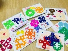 겨울 미술활동 색종이로 눈꽃모양 자르기 활동이에요. 간단하게 할 수 있으며 아이들이 활동 후 자유선택활...