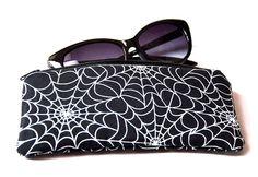 Black Spider Web Cobweb Glow in the Dark Gothic Sunglasses Case by Pornoromantic