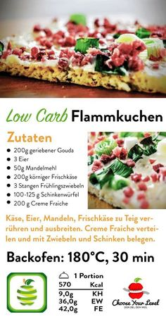 Flammkuchen low carb - Choose Your Level™ Low Carb Flammkuchen Rezept, Flammkuchen Teig Low Carb ohn Vegetarian Breakfast Recipes, Healthy Dinner Recipes, Low Carb Recipes, Vegetarian Diets, Low Carb Flammkuchen, Vegetable Recipes For Kids, High Protein Low Carb, Smoothie Recipes, Vegetarian