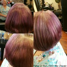 Beautiful hair transformation for a retired nurse using #Redken Chromatics 6vr with violet kicker! Processing pulled through a cap pre lightened to level 8 rinsed and applied Chromatics ribbon of violet kicker 1 ounces of 6vr #Redken5thAve #HairStudioPlusDenver #HairByTifani #DenverStylist #303Stylist #HairTransfromation