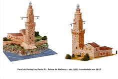 O Farol de Portopí ou Porto Pí, Mallorca, Espanha, é o terceiro farol mais antigo do mundo (do séc. XIII, transladado em 1617), sendo a Lanterna de Gênova o segundo, e a Torres de Hércules, também na Espanha, o primeiro (aprox. II dC) / http://www.decorarconarte.com/epages/61552482.preview/es_ES/?ObjectPath=/Shops/61552482/Categories/%22Kits%20de%20maquetas%20construcci%C3%B3n%22