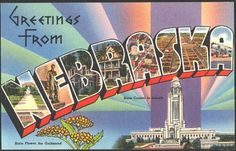 1940s Large Letter Greetings from Nebraska State Vintage Postcard