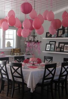 Beautiful Pink Party! - Love this simple decor and honest theme. (Upside down balloons = LOVE! I am passionate about balloons at a party.)