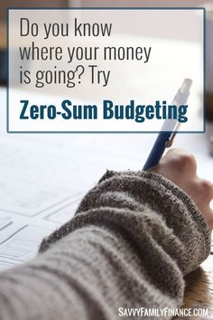 Do you ever wonder where your money went? Zero-sum budgeting could help.  Click through to read more.
