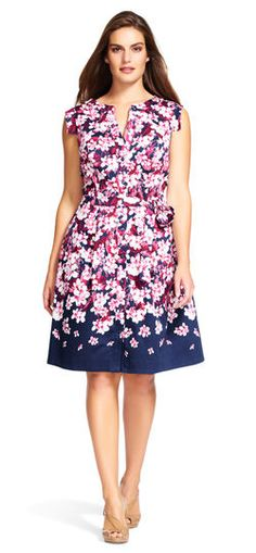 eb3c4b7922f8 Adrianna Papell Plus Size Floral Fit and Flare Shirtdress