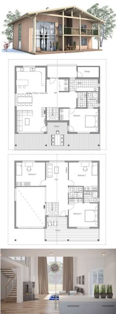 Modern House Plan with four bedrooms. Suits well to lot with big back yard or great view, two living areas, large balcony.
