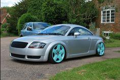 "Bagged Audi TT, shaved body, Bentley 19"" Alloys in Tiffany Blue."