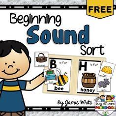 Beginning Sound Sort - FREE by Play to Learn Preschool | Teachers Pay Teachers