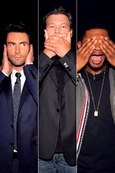 Usher shared a goofy pic of him and his fellow male Voice judges, Adam Levine and Blake Shelton, on April 22, 2013, but there was no need for a caption. The photo says it all.