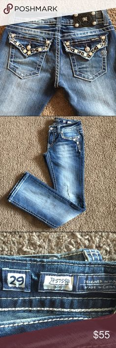 """Miss Me Jeans Size 29 Size 29, Inseam 34"""", Waist 14 1/2"""", Rise 8"""", Boot Cut 8"""" Leg Opening, Factory Distressed, All Jewels 💎 Intact, Beautiful Pair of Jeans-Wish they fit me Miss Me Jeans Boot Cut"""