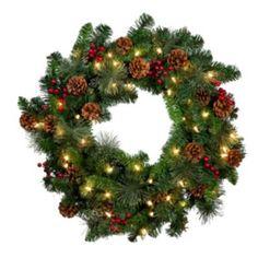 "Classic Lighted 30"" Christmas Wreath"