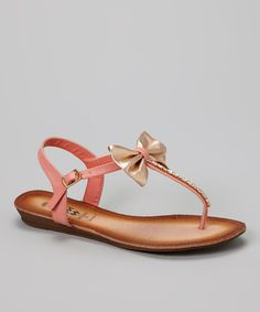 Loving this Pink Metallic Bow T-Strap Sandal on #zulily! #zulilyfinds