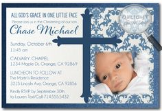 Traditional Baptism Boy Invitations [DI-814] : Custom Invitations and Announcements for all Occasions, by Delight Invite, Boy Baptism Invitations, boy theme baptism christening invitations, christening invite ideas, baptism party theme, photo baptism invitations, professionally printed baptism invites, hand-mounted, 2 piece metallic card stock baptism invitations
