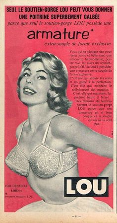 Fine Publicite Advertising 014 1961 Lou Jeune France Soutien Gorge Breweriana, Beer