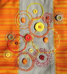 ♒ Enchanting Embroidery ♒ embroidered circles around buttons