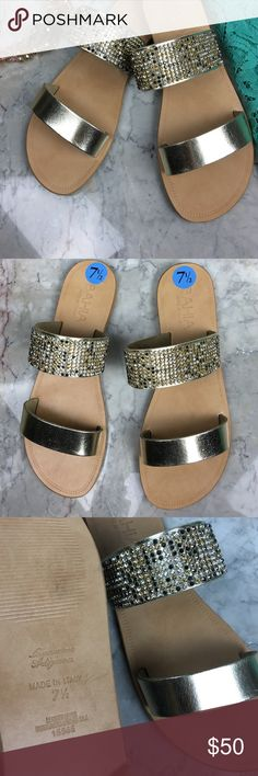 LAST CHANCE ❤️Bahia leather gold crystal sandals Brand new! Multiple sizes available: 6.5, 7, 7.5, 8.5 & 10. Made in Italy. Genuine leather with gorgeous crystal detailing. Pewter, white, and bronze crystals. Seriously stunning and absolutely gorgeous- take my word for it. You won't regret purchasing these lovely babies! Bahia Shoes Sandals