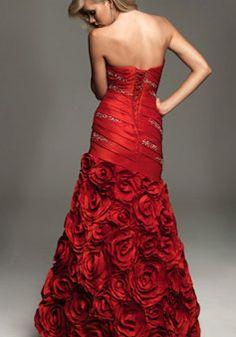 glamorous mermaid taffeta strapless beaded flowers prom dress picture 3
