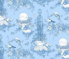 My Garden Toile Main Large Blue ©2011 by Jane Walker fabric by artbyjanewalker on Spoonflower - custom fabric
