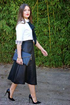 Meggie Frue: Black, White, and Red Classics  Banana Republic midi skirt, Christian Louboutin So Kate pumps