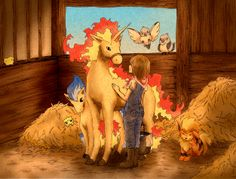 The picture is great, but I'm really repinning it for the shiny Ponyta.