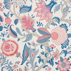 Schumacher A colorful, large-scale tree of life pattern, Arborvitae Fabric features scrolling branches enlivened by wonderfully patterned leaves and exotic blossoms. Fabric Roses, Floral Fabric, Bodhi Tree, Pillow Forms, Schumacher, Modern Prints, Fabric Wallpaper, Decorative Pillow Covers, Delft