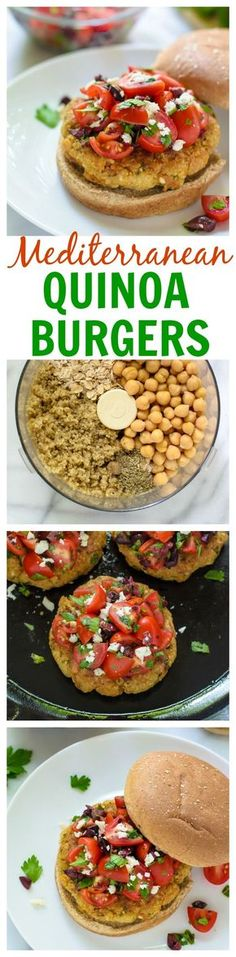 Feta Stuffed Mediterranean Quinoa Burgers. Crispy, fresh, and great leftover too!
