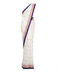 Pristine White Sari with Embellished Floral Motifs - Apparel