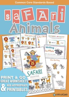 Great resource for 3 - 6 year olds.Safari introduces children to the world of Wild Animals. Which one is different What comes next? Prewriting practice Cutting Practice Safari matching Safari shadow matching Safari word matching Picture matching Missing letters Handwriting Size sorting Size sequencing Safari dice Safari roll & graph Lion Mask Safari numbers Safari letters