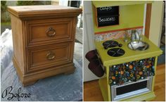 diy children's play kitchen from an old dresser: before and after
