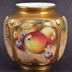 A ROYAL WORCESTER VASE painted with fruit by Roberts.