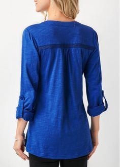 Button Up Roll Tab Sleeve Royal Blue Blouse Vintage Furniture Wedding, Denim Button Up, Button Up Shirts, Royal Blue Blouse, Trendy Tops For Women, Blouse Styles, Long Sleeve, Sleeves, Buy Cheap