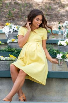 PinkBlush - Where Fashion Meets Motherhood - Yellow Basic Pleated Skirt Maternity Dress - Yellow Maternity Dress, Casual Maternity Outfits, Maternity Dresses For Baby Shower, Maternity Dresses Summer, Maternity Wear, Maternity Fashion, Pregnancy Dress, Pregnancy Clothes, Maternity Photos