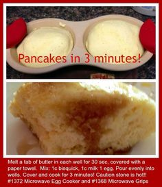 3 Minute Pancakes in the Microwave Egg Cooker! Plus you can do so much more in it ~ check it out @ www.pamperedchef.biz/rebeccaking