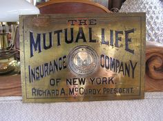 Brass Banker's Sign Right Out of The Great Wall Street Scandal of 1905; $700