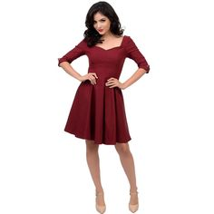 Unique Vintage Burgundy Three-Quarter Sleeve Grace Swing Dress (1,990 MXN) ❤ liked on Polyvore featuring dresses, burgundy, burgundy cocktail dress, vintage dresses, red homecoming dresses, 3/4 sleeve cocktail dresses and vintage homecoming dresses