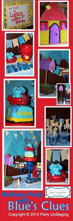 It is Blue's Clues #Birthday #Party time! Our Royally Blue #Upcycling Collection Cake Display was in charge of this awesome homemade fondant cake and rice crispies pops! Available for rent at http://www.partyupstaging.com